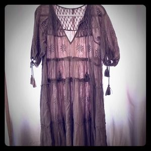 Free People Tiered Dress With Embroidery